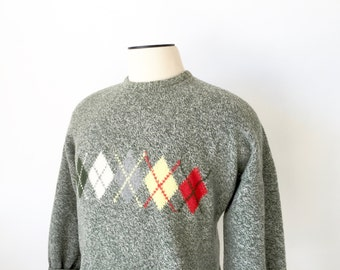 Vintage Intarsia Sweater / Faconnable Sweater / Mens Large sweater / Geelong Lambswool Sweater / 90's Sweater / Boyfriend Sweater