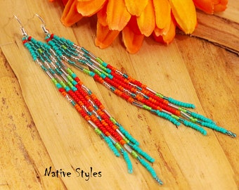 "5""Bohemian Seed Bead Earrings~Native American Inspired Shoulder Duster~Long Neon Fringe~Belly Dance~Gypsy Hippie Style~Turquoise Red Orange"
