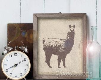 Llama Print - Rustic Wall Decor - 8x10 printable digital file - INSTANT DOWNLOAD!