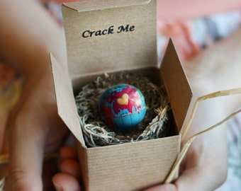 Custom Globe Adoption Announcements & Baby Shower Invitations - Open and Reveal -Spring Easter