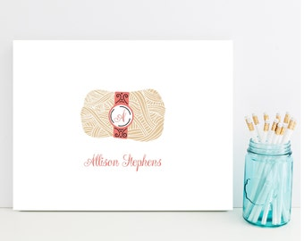 Knitting Stationery - Personalized Knitting Gift - Gift for Knitter - Knit Stationary