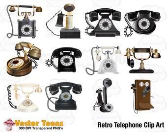 Retro Telephone Clip Art, Digital Clipart, Digital Graphics