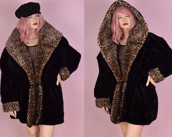 80s Leopard Print Trim Black Faux Fur Hooded Coat/ XL/ 1980s/ Jacket