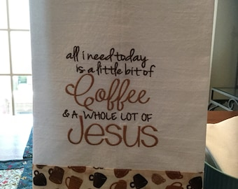 Coffee embroidered kitchen towel