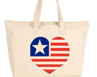 Heart Flag Large Tote Bag with zipper closure - Beach Bag, Purse, Gift Bag