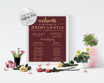 Welcome to our Wedding Sign, Bridal Party Wedding Sign, Wedding Party Sign, Customized, Digital Files