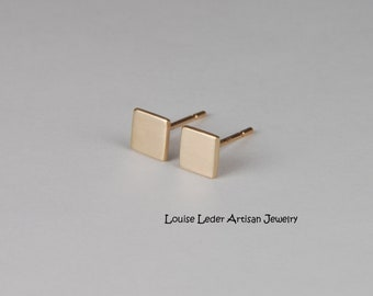 Square Gold Earrings 14K Stud Earrings Gold Minimalist Earrings Solid Gold Earrings Square Studs Gold
