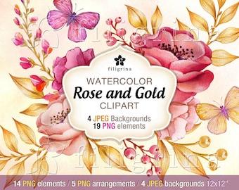 Rose Gold Flowers WATERCOLOR Clip Art design. 19 PNG floral elements, 4 backgrounds 12x12 digital scrapbook paper textures. Read about usage