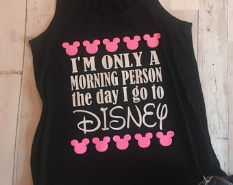 Free Shipping! Racerback Tank Top - Morning Person/ Fun vacation Tank Top/ Happy Place/ Mouse ears/ FUN