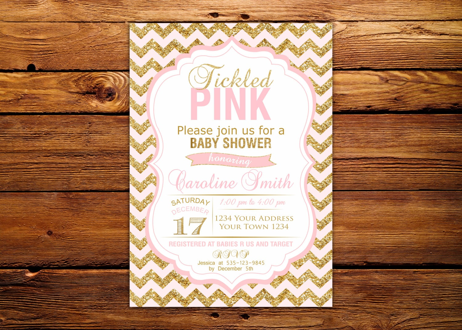 Baby Shower Invitations. Tickled Pink Baby Shower. Baby Girl.