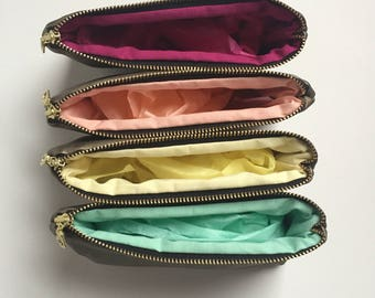 4 Gold Bridesmaids Gifts. Rainbow Bridal Shower. Bridesmaid Clutch. Bridesmaid Makeup Bag. Monogrammed Makeup Bag. Bridal Cosmetic Bags