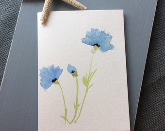 Hand painted cards etsy watercolor greeting card original watercolor hand painted card blue flowers birthday card m4hsunfo