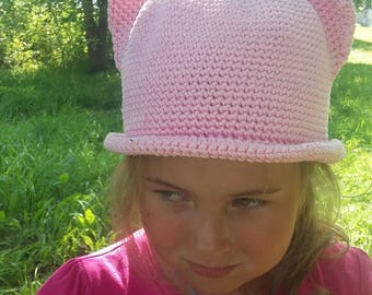 Knitted cap. knitted hat with ears for girls. Pussy hat Womens Hat Knit  Cat Ears Cat Beanie Knit  Accessories PINK  Cat Animals Hat cat