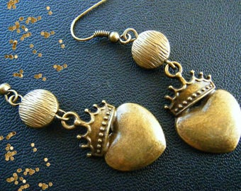 Bronze earrings, crowned heart.