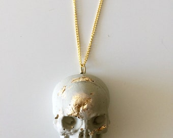 Large Concrete Skull Pendant Necklace, concrete jewelry, handmade unique design