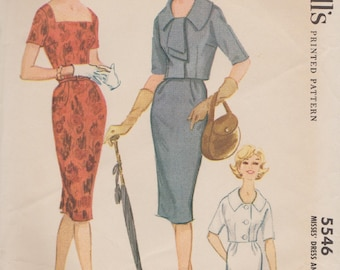 McCalls 5546 / Vintage 60s Sewing Pattern / Sheath Dress And Cropped Jacket / Size 20 Bust 40