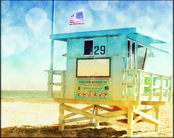 Retro Beach Wall Art, Beach Photography, Lifeguard Tower, California Beach Art, Santa Monica, Venice BeachDecor,