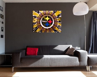 Pittsburgh Steelers Encaustic Crayon Art - Canvas, Custom, Melted, Pittsburgh Steelers Merchandise, Steelers Logo, Steelers Nation, Sports