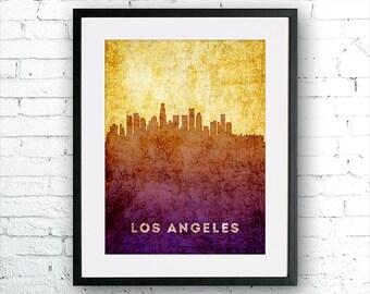 Los Angeles illustration Art Print, Los Angeles painting, United States  California art, poster, cityscape, city art, urban,city wall art