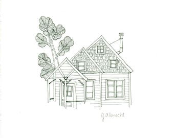 Forest Cabin 1 | Illustration | 8X8 art print