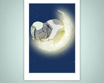 Sleeping Chinchilla, Crescent Moon 4x6 Giclee Illustration Print, Wall Art, Home Decor, Pets, Matte Finish - Gifts Under 10 Dollars
