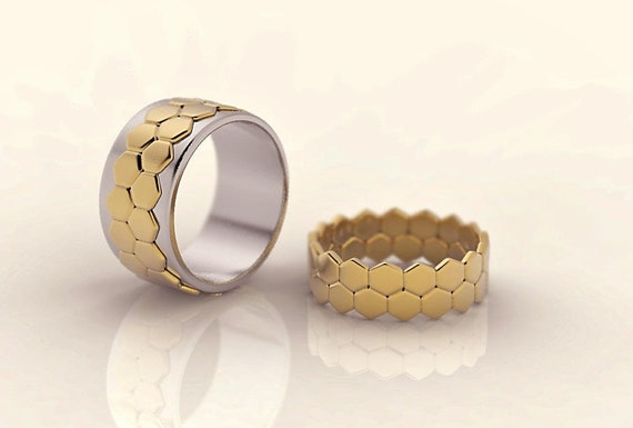 Hexagon wedding ring set his and hers wedding rings unique