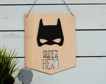 Batman wooden banner | nursery decor | Pennant Wall Flag Batman | Pennant Banner | Batman sign | Wood penant