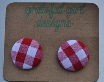 Red Checkered Button Earrings