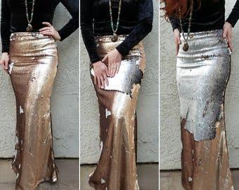 Matte Gold/Gunmetal Flip Sequin Maxi - Gorgeous high quality sequins- Long sequined skirt (S,M,L,XL) runs big.