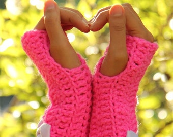 Hot Pink Gloves with Satin Bows by Mademoiselle Mermaid