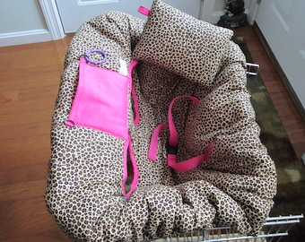 Leopard Print with Bright Pink Shopping Cart Cover and Pillow