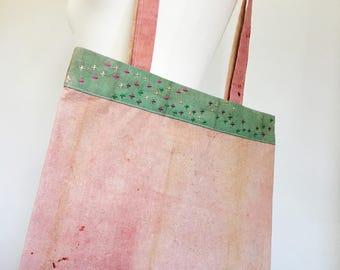 Tote bag – Organic cotton tote – Naturally dyed tote bag – Zero waste tote bag – Hand embroidered tote – Vegan tote bag – Reversible tote