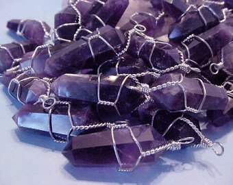 Lot 5 pieces Amethyst Quartz Point Wire Wrapped Pendants, Jewelry Supply 13t90