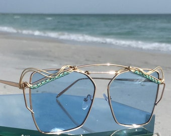 New Style!! Sky Blue Cat Eye Sunglasses Women, Turquoise Silver Wire Wrapped Artisan Sunnies, Spunglasses, Every pair is a piece of art, NEW