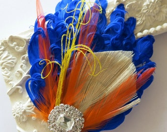 Bridesmaids Hairpiece, Feather Fascinator, Royal Blue,Orange, Yellow,Wedding Hairpiece, Gatsby Hairclip, 1920s Hairpiece