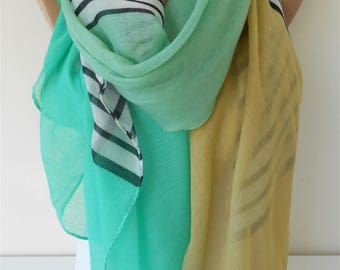 Black White Striped Scarf Oversize Cotton Scarf Green Scarf Shawl  Winter Fashion Accessories  Holiday Gift For Women Gift For Her SCARFCLUB