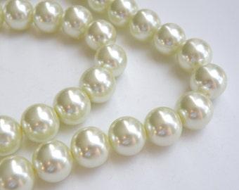 Ivory glass pearl beads round 14mm full strand 7820GB