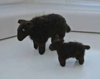 Woolly Sheep and Lamb in Steiner Waldorf Style