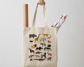 Safari Animals Canvas Tote Bag, canvas bag, shoulder bag, shopper, animal print, gift for her, fair trade, gift for him, illustration