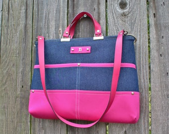 Chic Blue Denim and Pink Twill zipper closure purse, double strap handbag shoulder bag, with leather straps and personalized initial