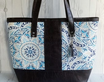 Canvas Tote Bag, Work Bag, Everyday Tote, Diaper Bag, Travel Bag, Waterproof, Blue Paisley, Brown Faux Leather, Handbags, Personalized Tote
