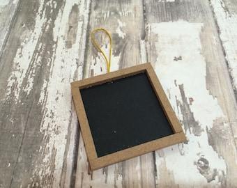 "Set of 6 Wood Framed Square Chalkboard Tags, 2"" X 2"""