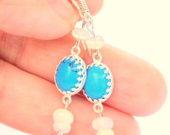 Natural Blue, Sleeping Beauty Turquoise, Welo Opal, Drop Earrings, Sterling Silver, Ladies Gift,Gemstone Treasures, Mother's Day Gift, OOAK