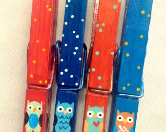 OWL CLOTHESPINS orange and blue hand painted magnets