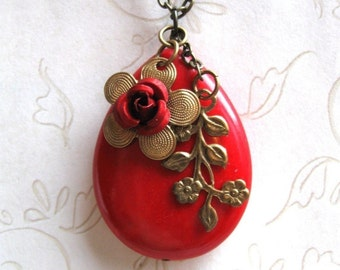 Red teardrop necklace, large pendant, statement necklace, Holiday necklace, gift for her, womens gift