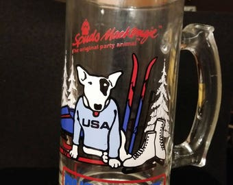 Vintage Bud Light Spuds Mackenzie Glass Beer Mug