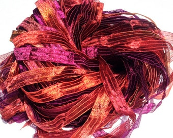 Valois Tapestry - Hand Painted Artist Dyed Ribbon Strings - OOAK  - FireandFibers Beads
