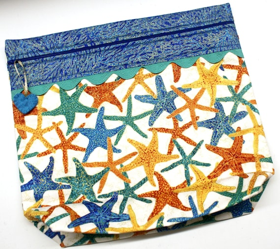 MORE2LUV  Metalic Gold Starfish Cross Stitch Embroidery Project Bag