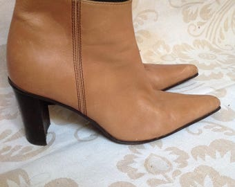 90s Beige Pointy Ankle Boots Tan Ankle Booties US 7,5 EU 38 UK 5,5