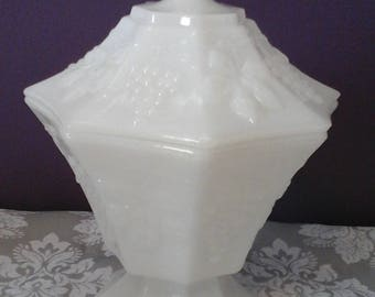 Vintage Milk Glass Fruit Dish with lid